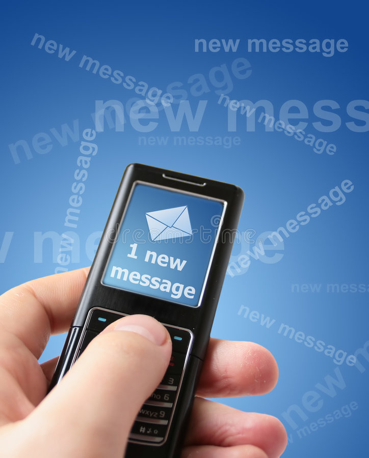 New message. Hand holding mobile phone. New message received stock photography