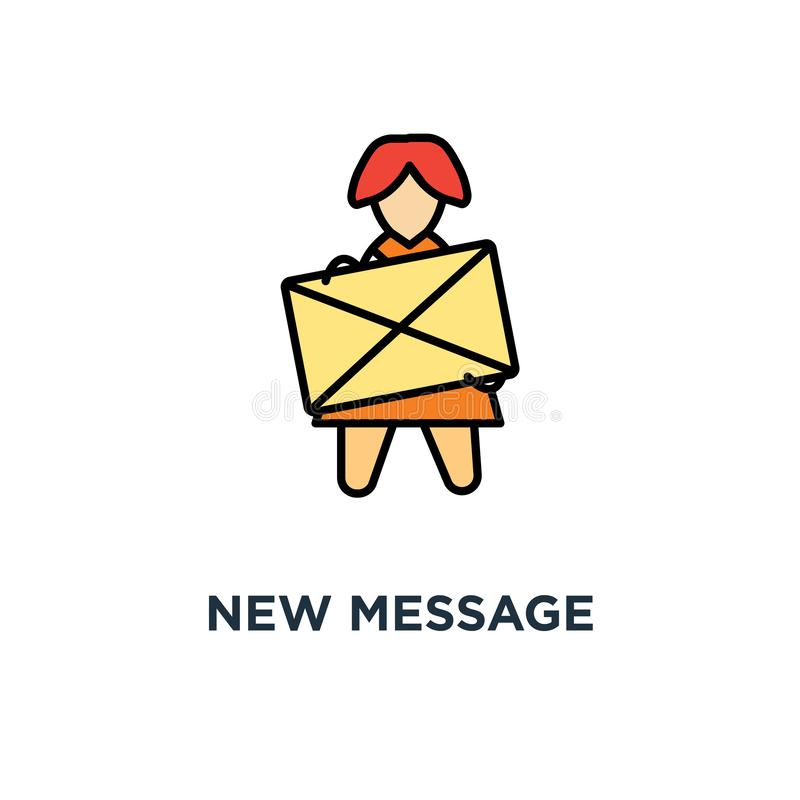 new message icon. inbox letter, cute funny woman holds a yellow envelope with notification concept symbol design, this is a new stock illustration