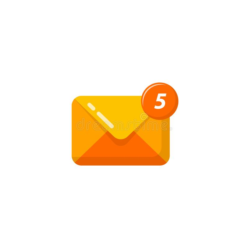 New message mail notification icon vector. new email received icon symbol design. S, app, business, chat, client, communication, concept, correspondence royalty free illustration