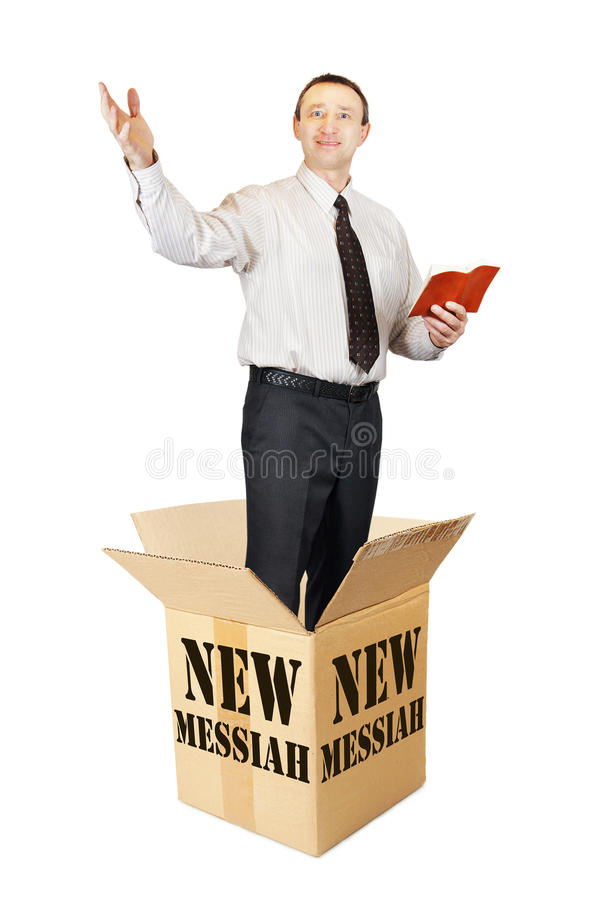 Free New Messiah Leaps Out From The Cardboard Box And Preaches Royalty Free Stock Image - 84098826