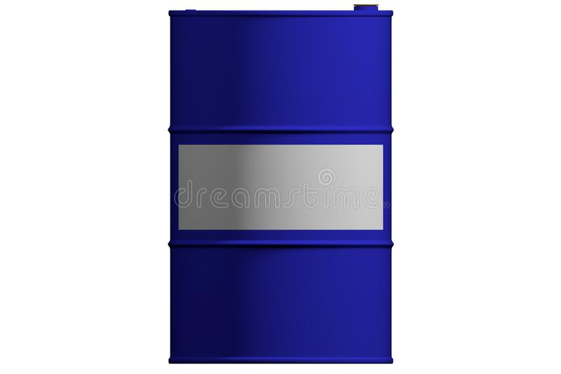 New metal blue barrel. Isolated. 3D render. New metal blue barrel. Isolated on white background. 3D render royalty free illustration