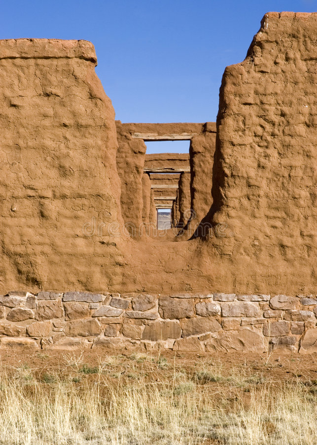 New Mexico 31. Fort Union US Army frontier post adobe ruins royalty free stock image