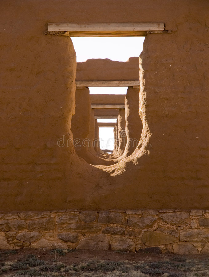 New Mexico. Fort Union US Army frontier post adobe ruins stock photo