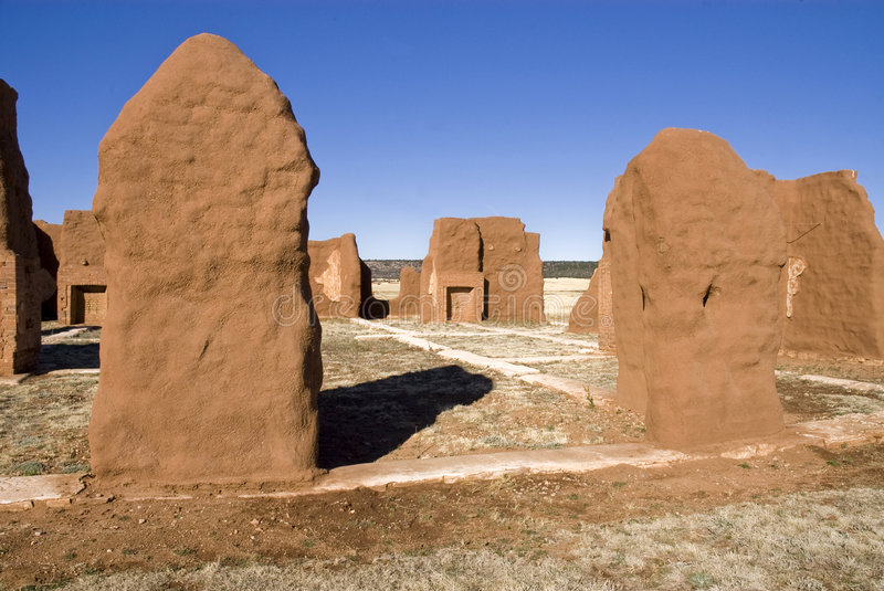 New Mexico 6a. Fort Union US Army frontier post adobe ruins stock image