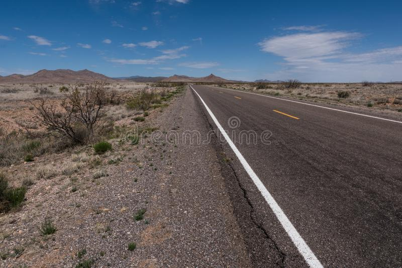 New Mexico Highway 27 wide angle view stock photography