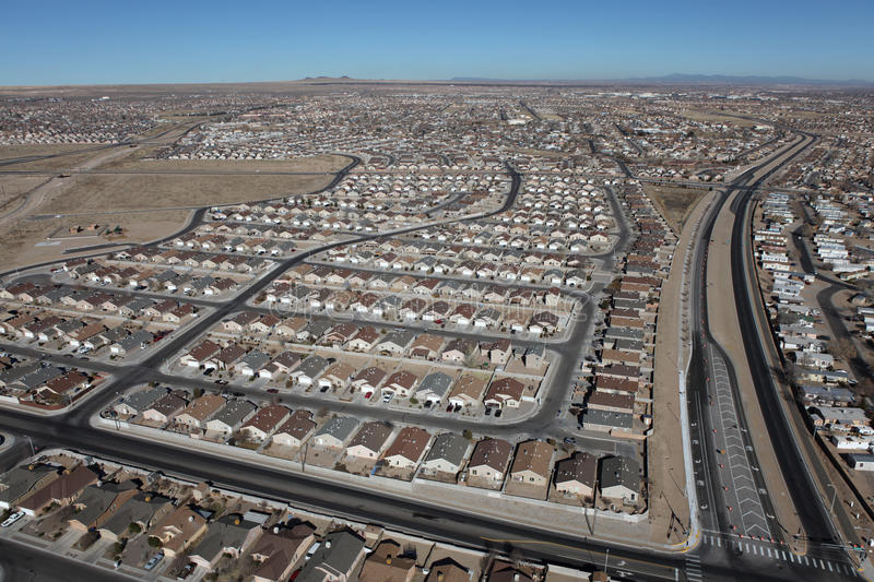 New Mexico Residential Aerial. Aerial of modern residential neighborhoods in arid Albuquerque, New Mexico, USA royalty free stock photography