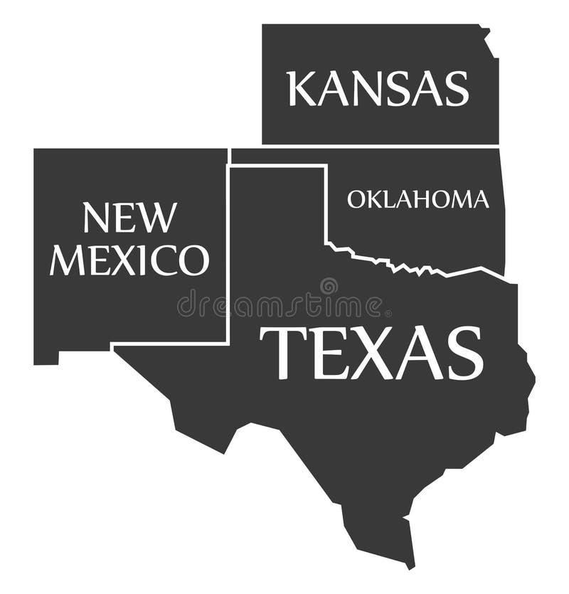 New Mexico - Kansas - Oklahoma - Texas geëtiketteerde zwarte royalty-vrije illustratie