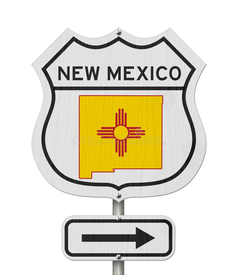 New Mexico map and state flag on a USA highway road sign stock illustration