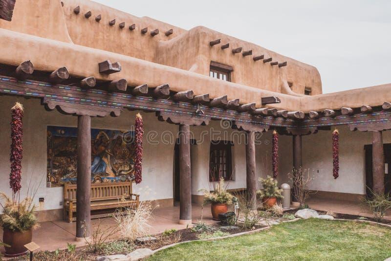 New Mexico Museum of Art courtyard. April 2, 2019: Santa Fe, New Mexico, USA: Interior courtyard within New Mexico Museum of Art stock photography