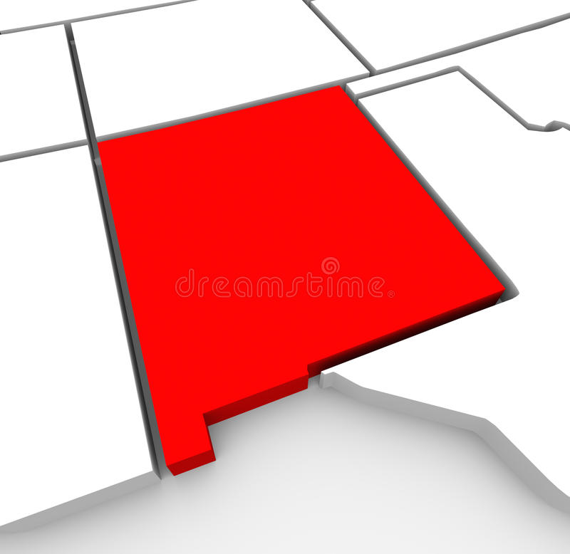 New Mexico Red Abstract 3D State Map United States America royalty free illustration