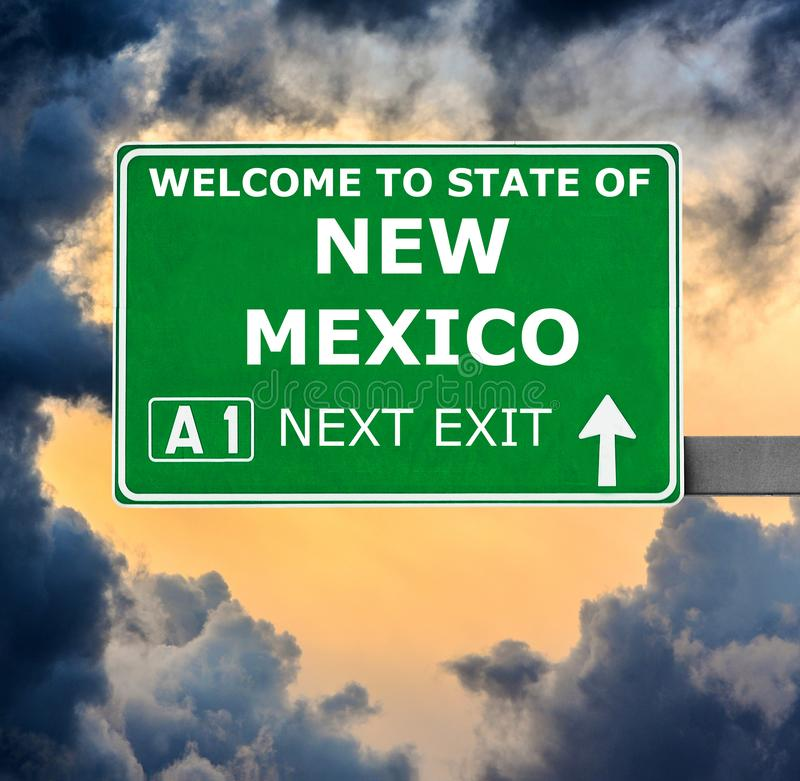 NEW MEXICO road sign against clear blue sky stock images