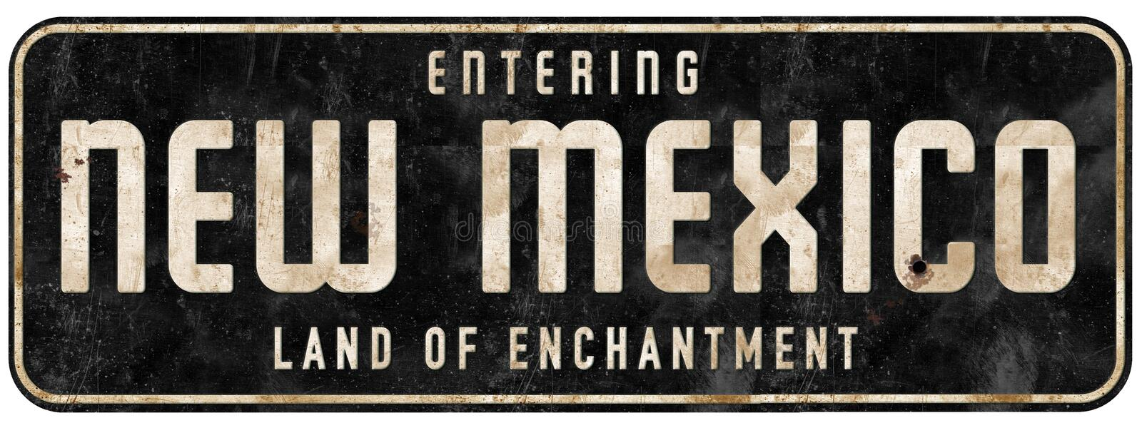 New Mexico Road Sign Entering Land of Enchantment. Grunge metal tin freeway highway welcome to tourism stock image