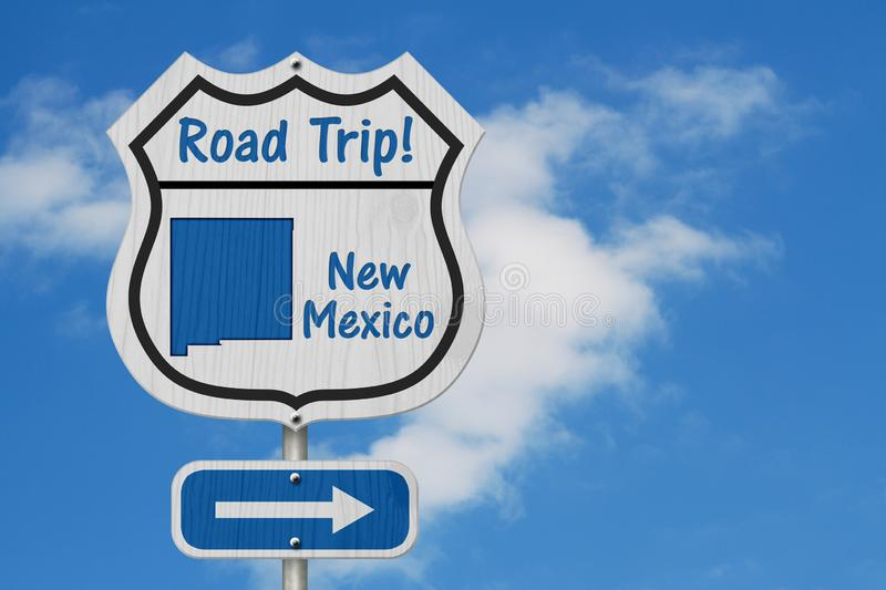 New Mexico Road Trip Highway Sign. New Mexico map and text Road Trip on a highway sign with sky background stock images
