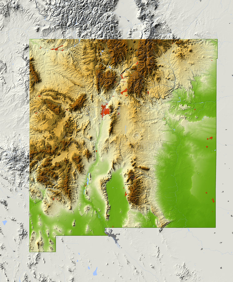 New Mexico, shaded relief map vector illustration