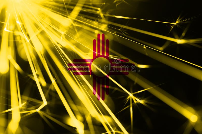 New Mexico shining fireworks sparkling flag. New Year 2019 and Christmas shiny futuristic party concept flags. New Mexico shining fireworks sparkling flag. New stock illustration