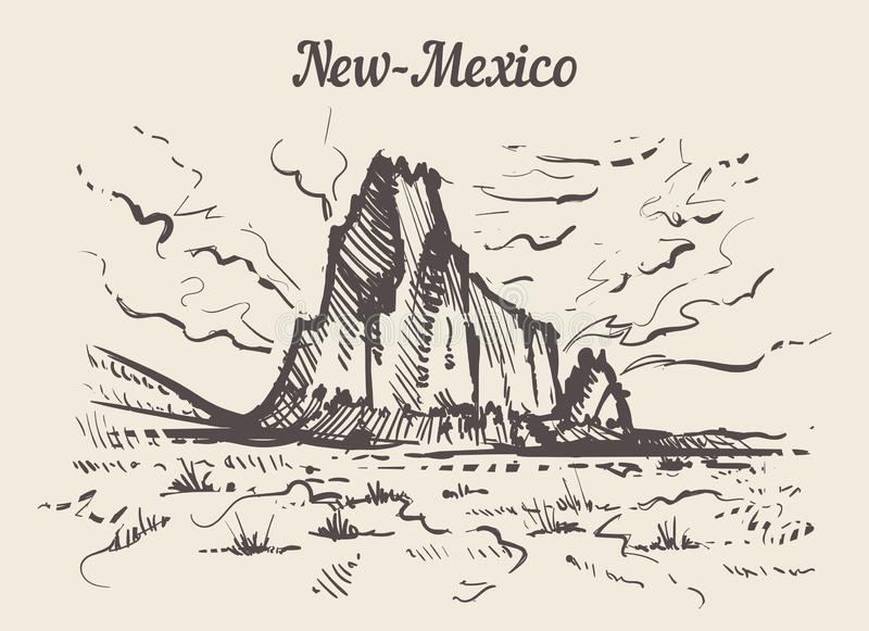 New-Mexico skyline hand drawn. New Mexico sketch style vector illustration. Isolated on white background royalty free illustration