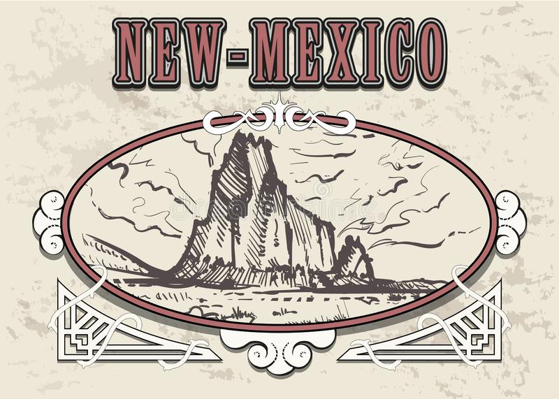 New-Mexico skyline hand drawn. New Mexico sketch style vector illustration. In vintage frame vector illustration