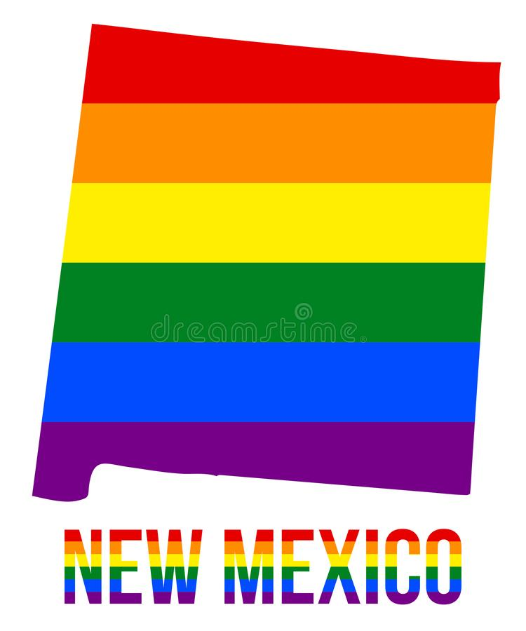 New Mexico State Map in LGBT Rainbow Flag Comprised Six Stripes With New Mexico LGBT Text. The Flag Comprised Six Stripes; Meaning to Each of The Colors: Life vector illustration