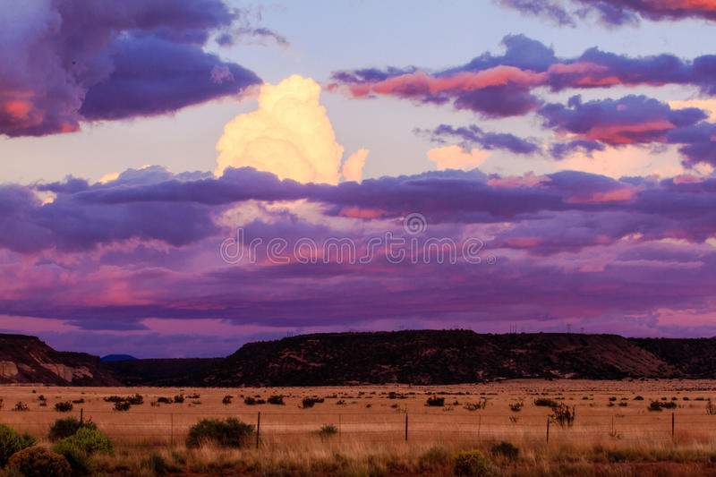 New Mexico Sunset. This image of a sunset over ranch land was captured in New Mexico not far from Santa Fe stock image