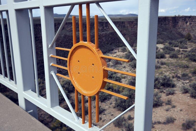 New Mexico symbol - Zia sun. Included in the railing on the Rio Grande Gorge Bridge. Taos, New Mexico stock photography