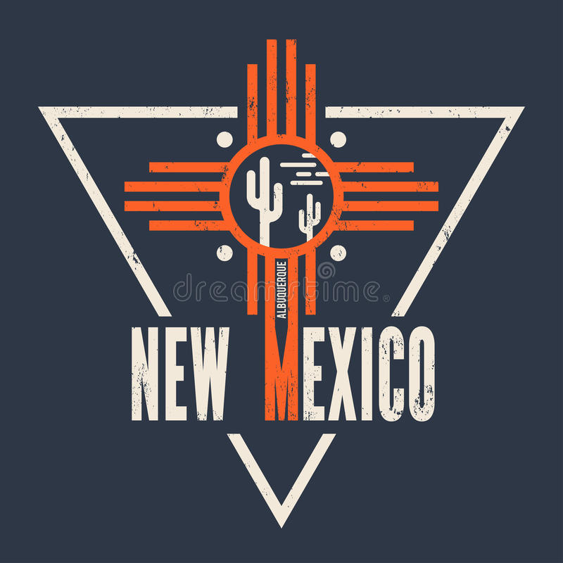 New Mexico t-shirt design, print, typography, label. royalty free illustration