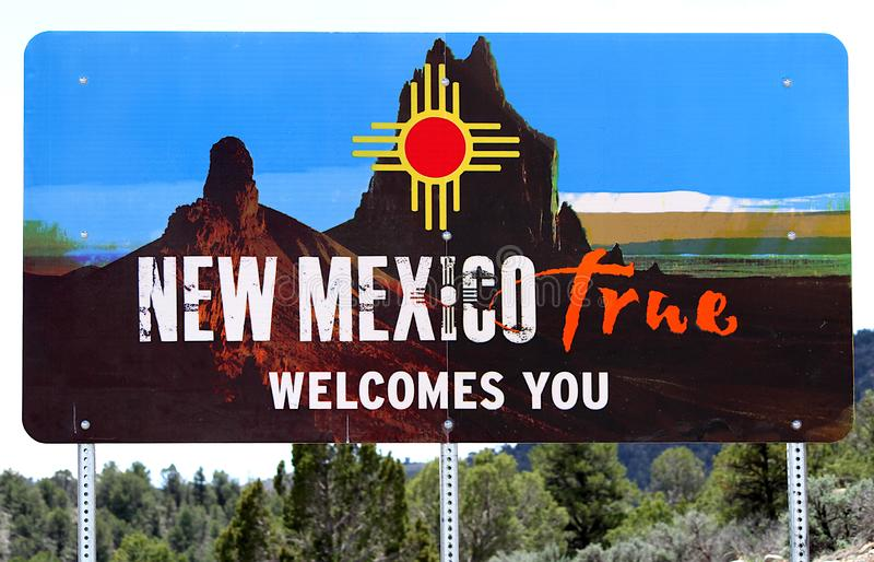 New Mexico welcome roadside sign. This is the New Mexico true welcomes you sign.  It is displayed where you leave Colorado from the Ute Indian reservation stock image