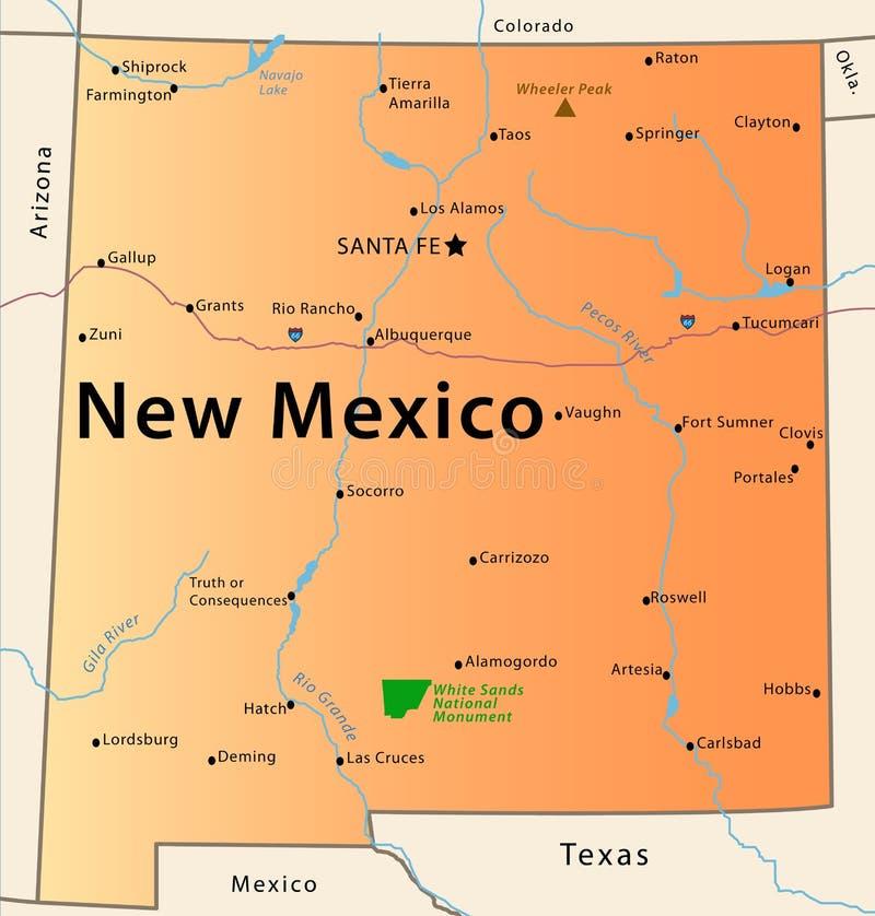 New Mexiko-Karte lizenzfreie abbildung