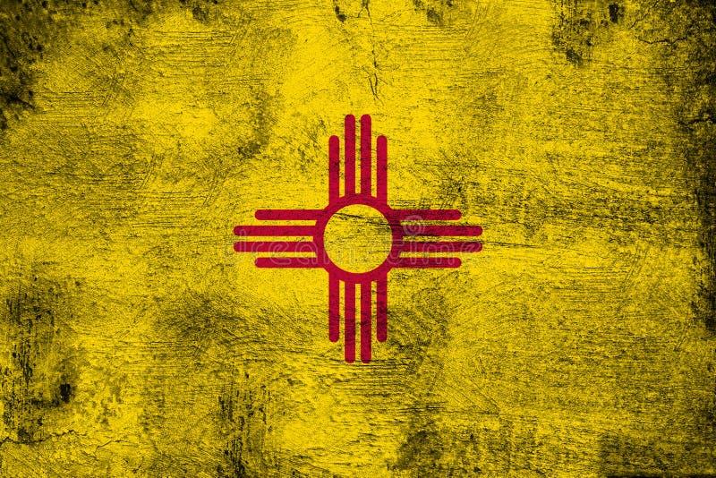 New-Mexiko rostig und Schmutzflaggenillustration vektor abbildung