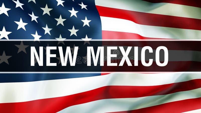 New Mexiko-Zustand auf einem USA-Flaggenhintergrund, Wiedergabe 3D Staaten von Amerika fahnenschwenkend im Wind Stolze amerikanis lizenzfreie abbildung
