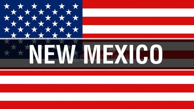 New Mexiko-Zustand auf einem USA-Flaggenhintergrund, Wiedergabe 3D Staaten von Amerika fahnenschwenkend im Wind Stolze amerikanis stock abbildung