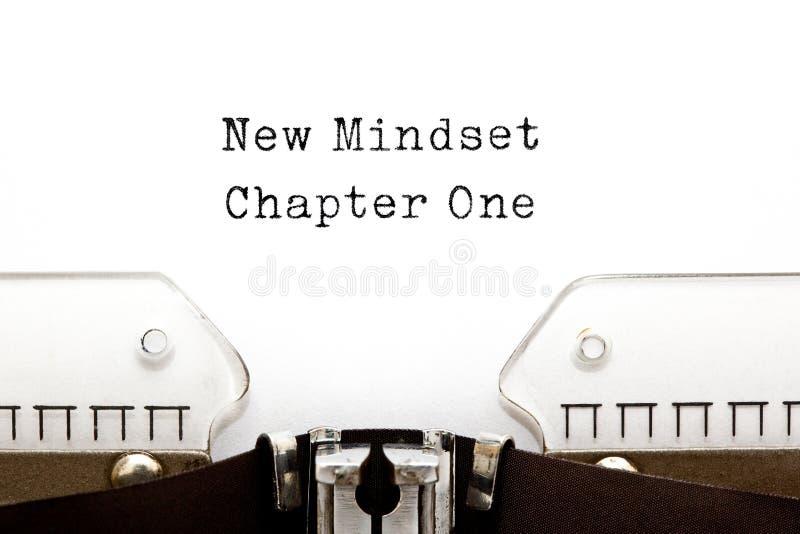 New Mindset Chapter One Typewriter. New Mindset Chapter One printed on an old typewriter stock photos