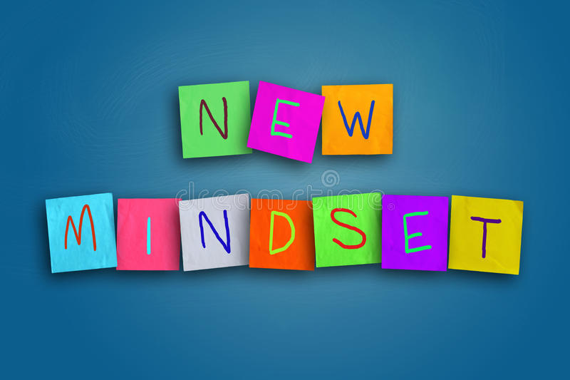 New Mindset Concept. The words New Mindset written on sticky colored paper vector illustration