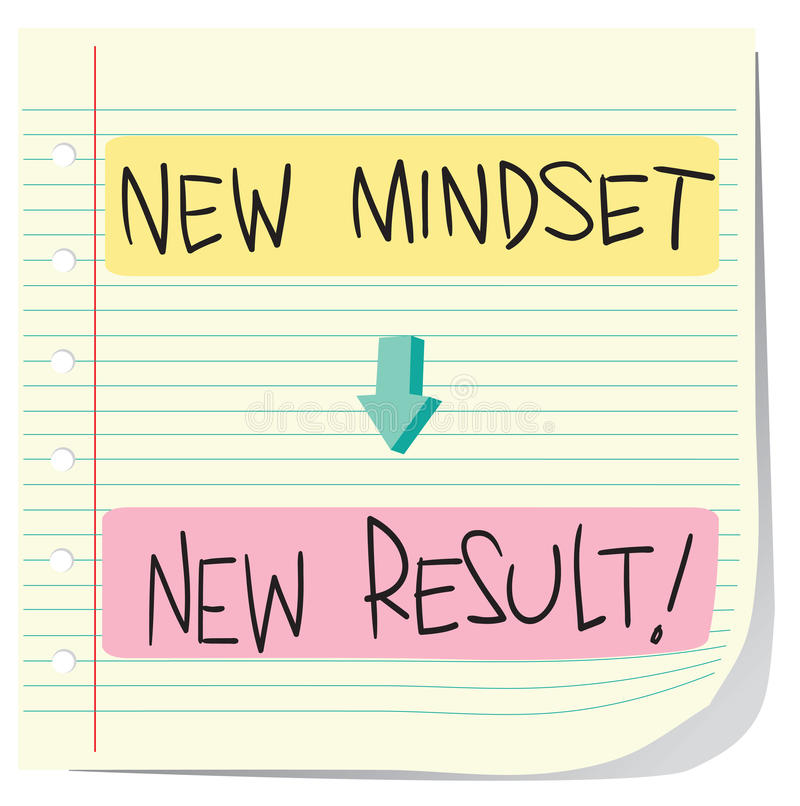 New Mindset New Result. Vector illustration of Self Development Concept, New Mindset to New Result written on striped paper royalty free illustration