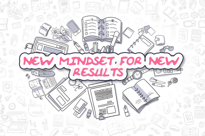 New Mindset For New Results - Business Concept. New Mindset For New Results Doodle Illustration of Magenta Word and Stationery Surrounded by Doodle Icons stock illustration