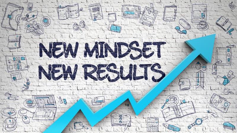 New Mindset New Results Drawn on White Brick Wall. stock illustration
