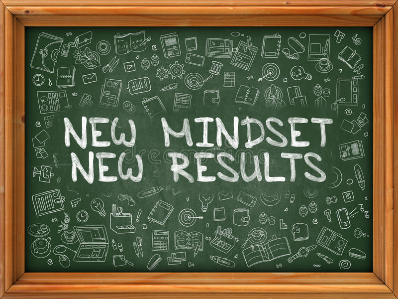 New Mindset New Results - Hand Drawn on Green Chalkboard. New Mindset New Results - Hand Drawn on Chalkboard. New Mindset New Results with Doodle Icons Around royalty free illustration