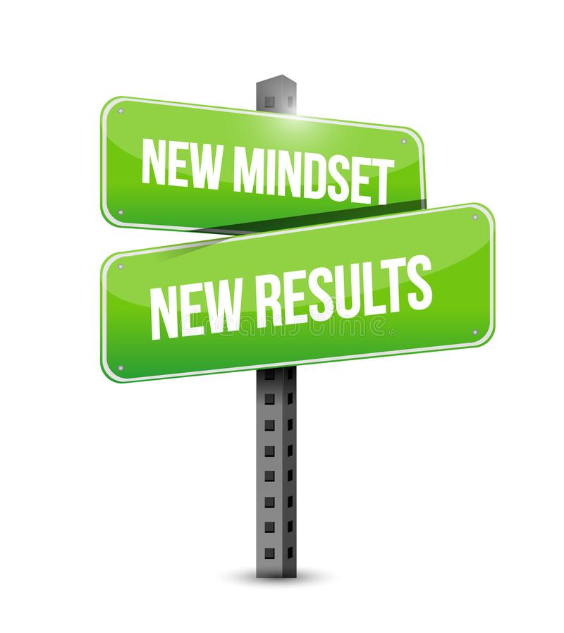 New mindset new results illustration sign. Isolated over a white background royalty free illustration
