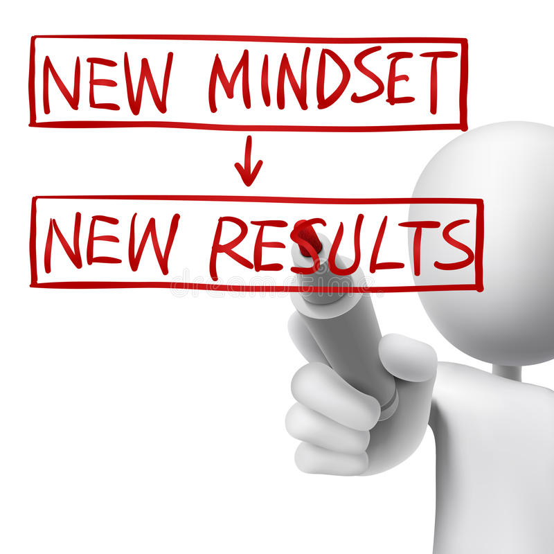 New mindset to new results written by 3d man. Over white royalty free illustration