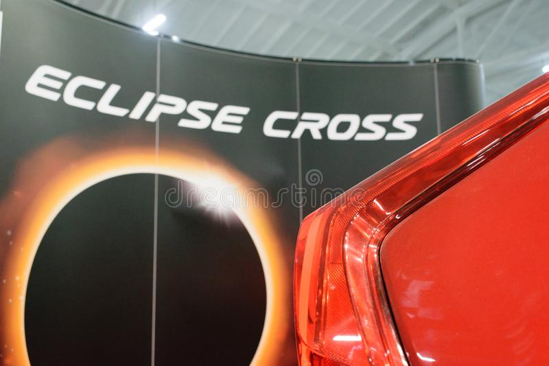 New Mitsubishi Eclipse Cross sport compact car. Shown at the Motor Show. Red Mitsubishi Eclipse, compact crossover produced by Mitsubishi Motors stock photography