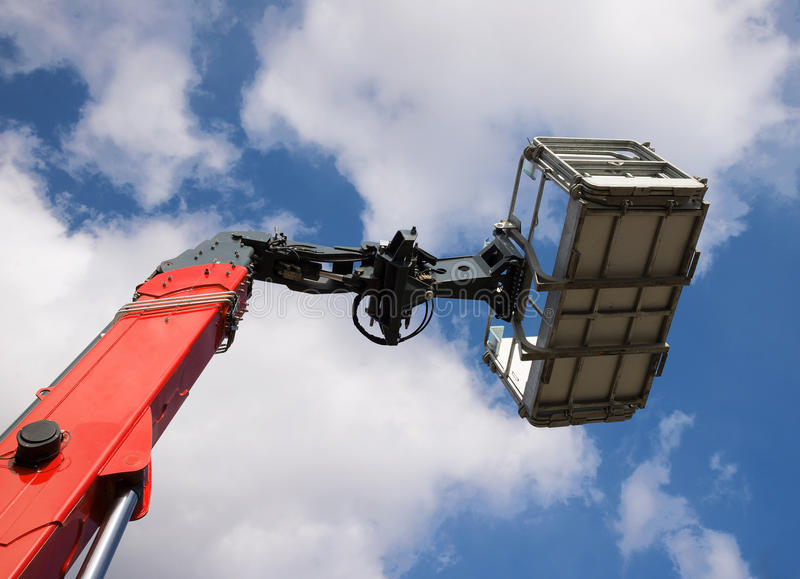 New mobile crane basket stock image