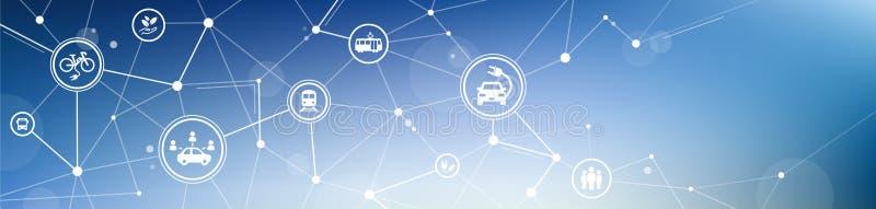 New mobility icon concept – public transport alternatives: e-car, bus, bike, car sharing, train - vector illustration royalty free illustration