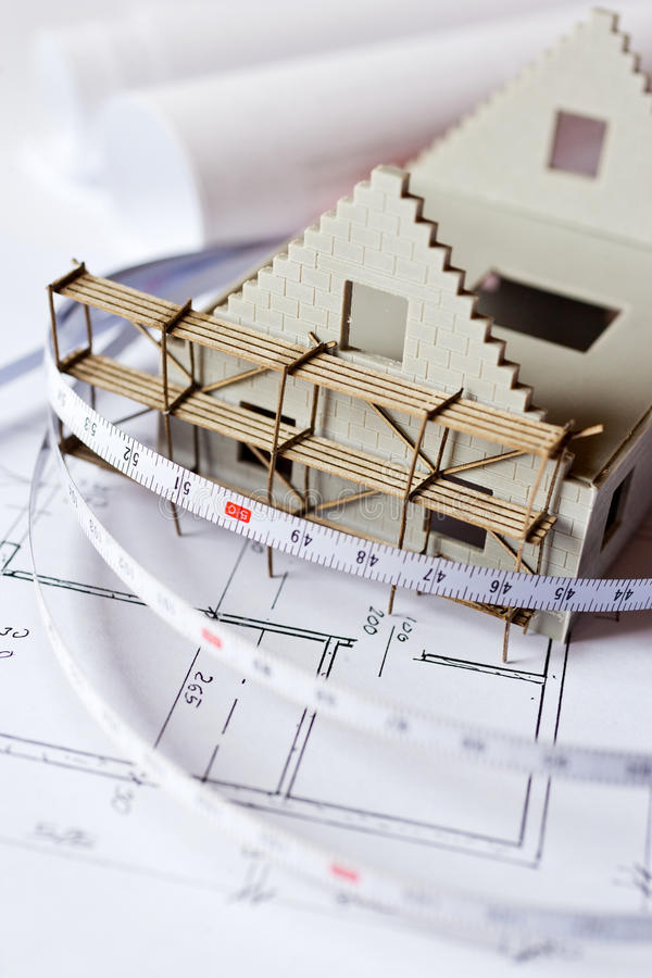 New model house on architecture blueprint plan at desk stock photo download new model house on architecture blueprint plan at desk stock photo image of architectural malvernweather Choice Image