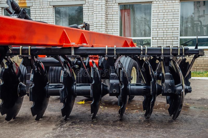 New modern agricultural disc harrow. Tillage equipment royalty free stock images