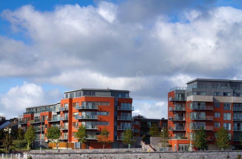 New modern apartments. Under blue sky stock photos