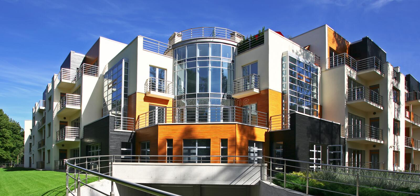 New modern apartments. Just built new modern apartments royalty free stock photos