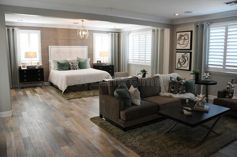 New Modern Bedroom Of A Classic Home In Arizona stock photo
