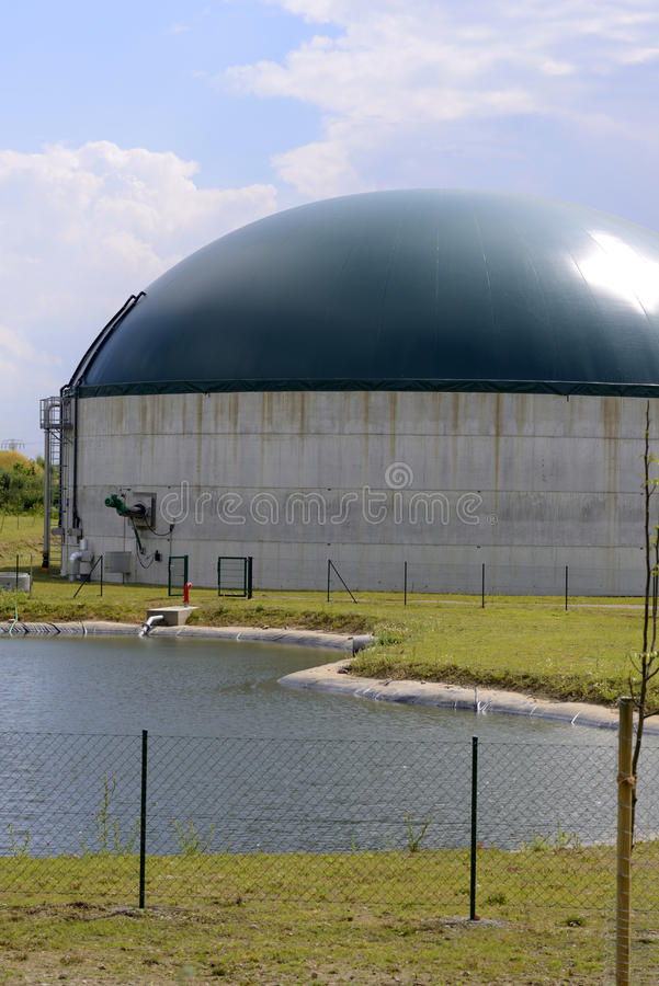 New, modern biogas plant stock photography