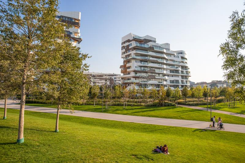 New modern building condo of `City Life` business and residential district, `Tre Torri`, Milan, Italy. royalty free stock images