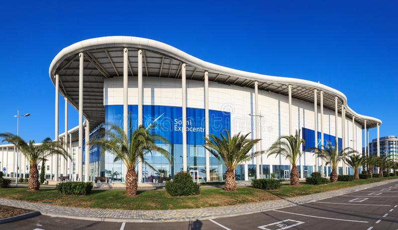 New modern building of the Main Olympic Media Center is now the venue for the Russian International Economic Forum. Panoramic view stock images