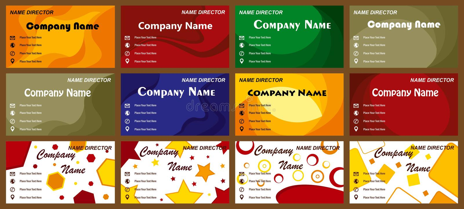 Modern business cards templates. New modern business card set for many company. Set of 12 business cards. more business cards in my portfolio vector illustration
